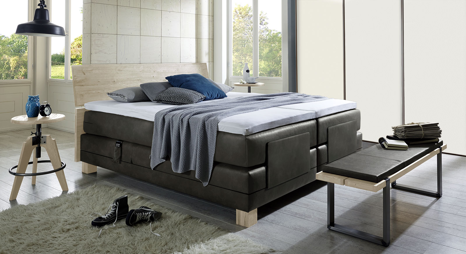 elektrisches boxspringbett in 200x200 cm avila elektro. Black Bedroom Furniture Sets. Home Design Ideas