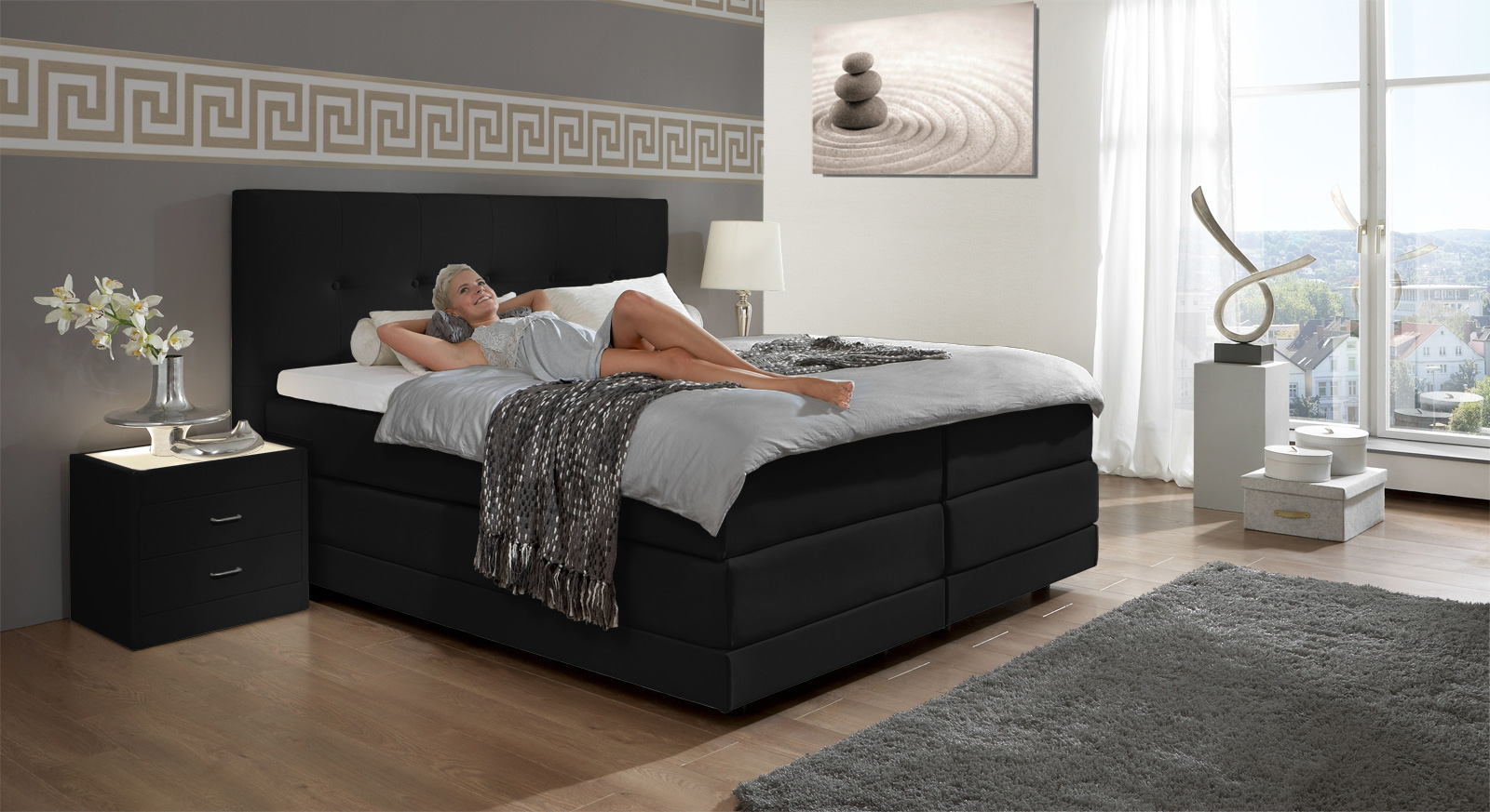 boxspringbett luxus. Black Bedroom Furniture Sets. Home Design Ideas