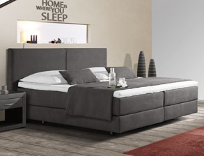 Boxspringbett Carrara in anthrazitfarbenem Strukturstoff | Betten.de