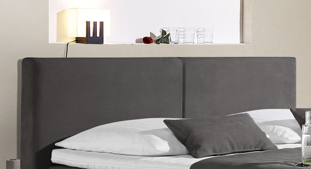 boxspringbett mit schwebeoptik z b in anthrazit carrara. Black Bedroom Furniture Sets. Home Design Ideas