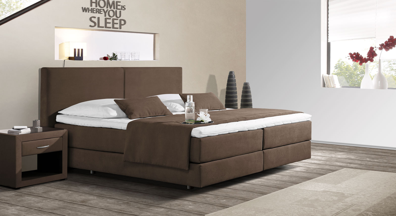 Boxspringbett mit schwebeoptik z b in anthrazit carrara for Boxspringbett schlafzimmer