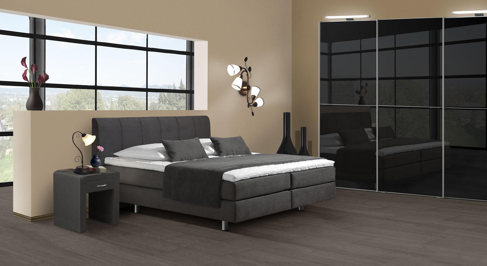 marvelous schlafzimmer boxspringbett komplett #1: Modernes Komplett-Schlafzimmer Clermont in Anthrazit