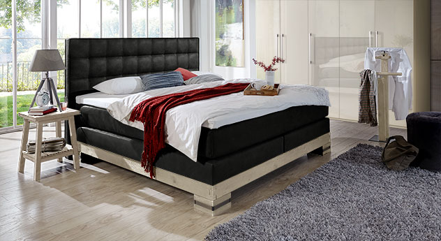 hochwertiges boxspringbett aus eiche cueno. Black Bedroom Furniture Sets. Home Design Ideas
