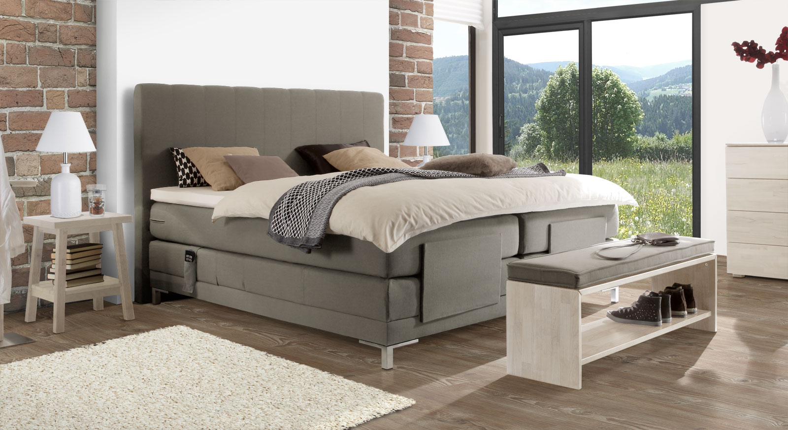 elektrisch verstellbares boxspringbett bis 120 kg denton. Black Bedroom Furniture Sets. Home Design Ideas