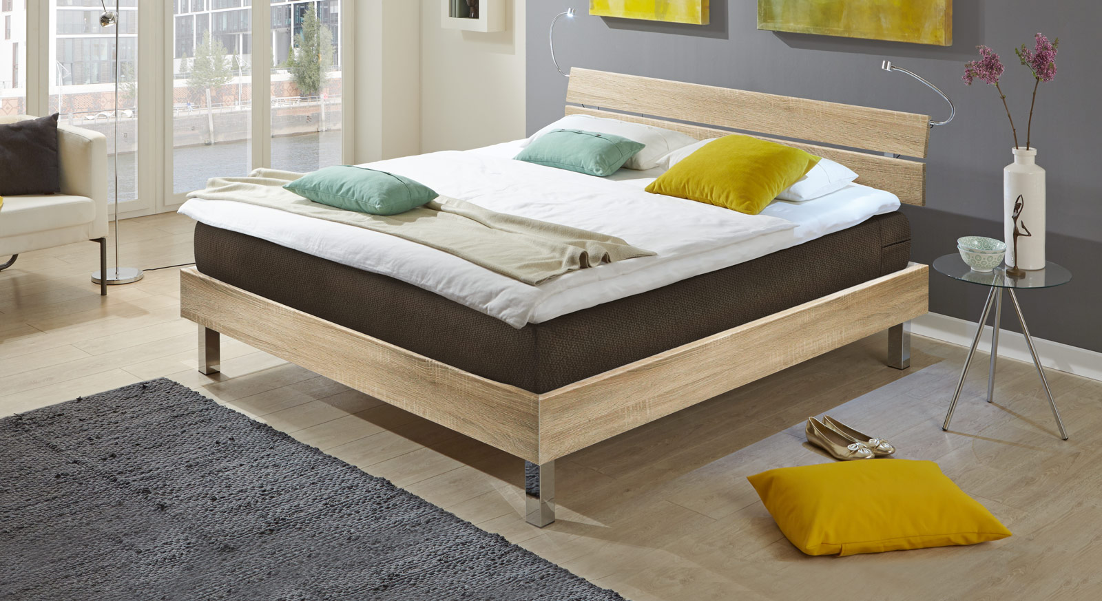 boxspringbett mit geteiltem kopfteil green bay. Black Bedroom Furniture Sets. Home Design Ideas