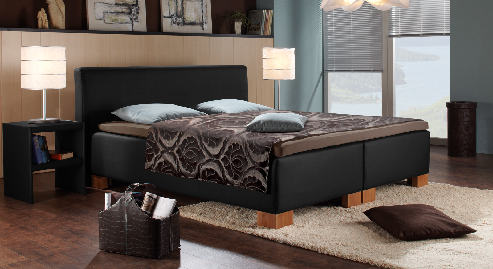 kunstleder boxspringbett in z b wei oder braun hawaii. Black Bedroom Furniture Sets. Home Design Ideas