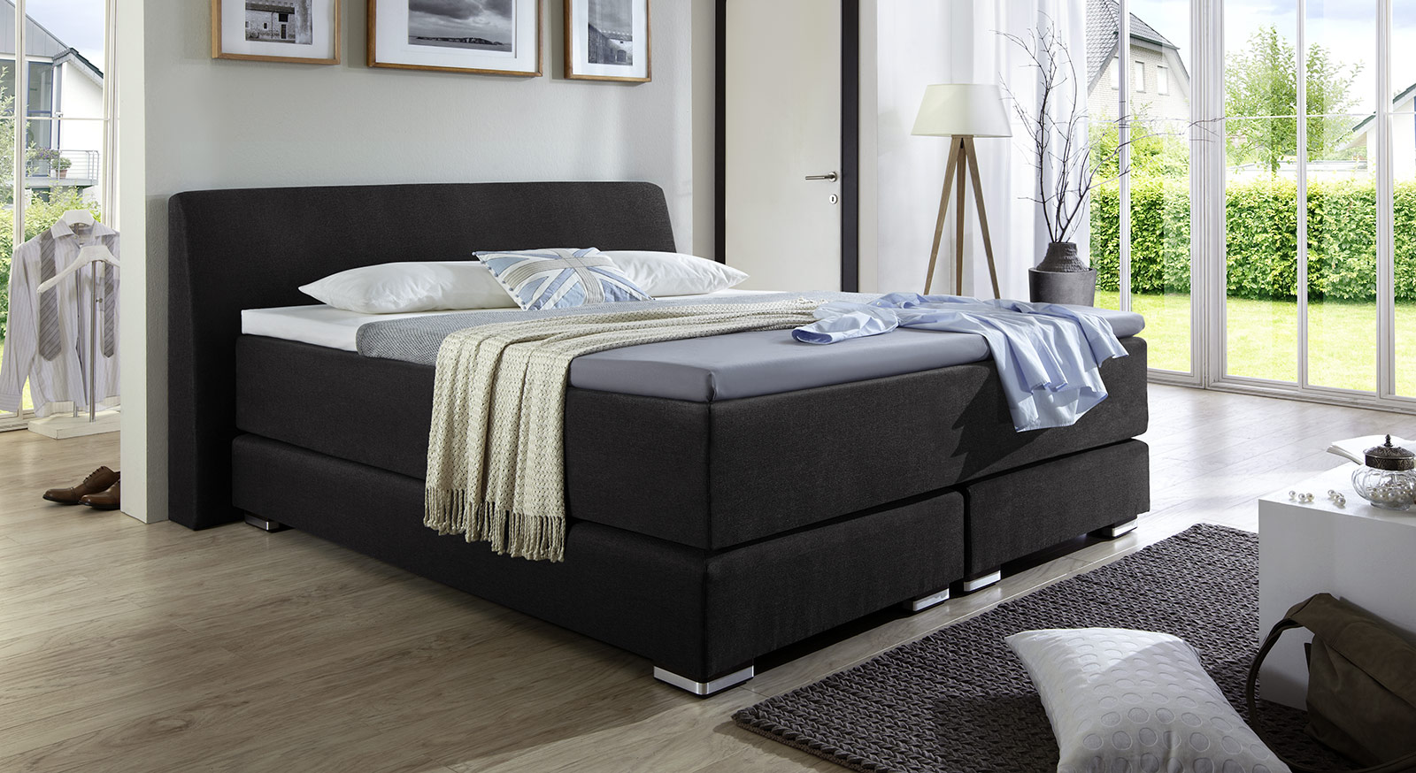 boxspringbett beziehen. Black Bedroom Furniture Sets. Home Design Ideas