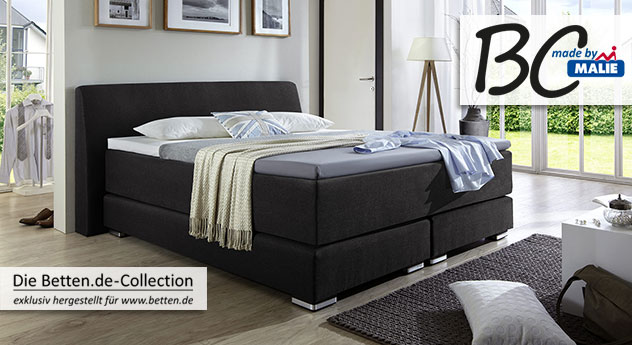 Boxspringbett Highland mit schwarzem Stoffbezug und optionalem Luxus Topper