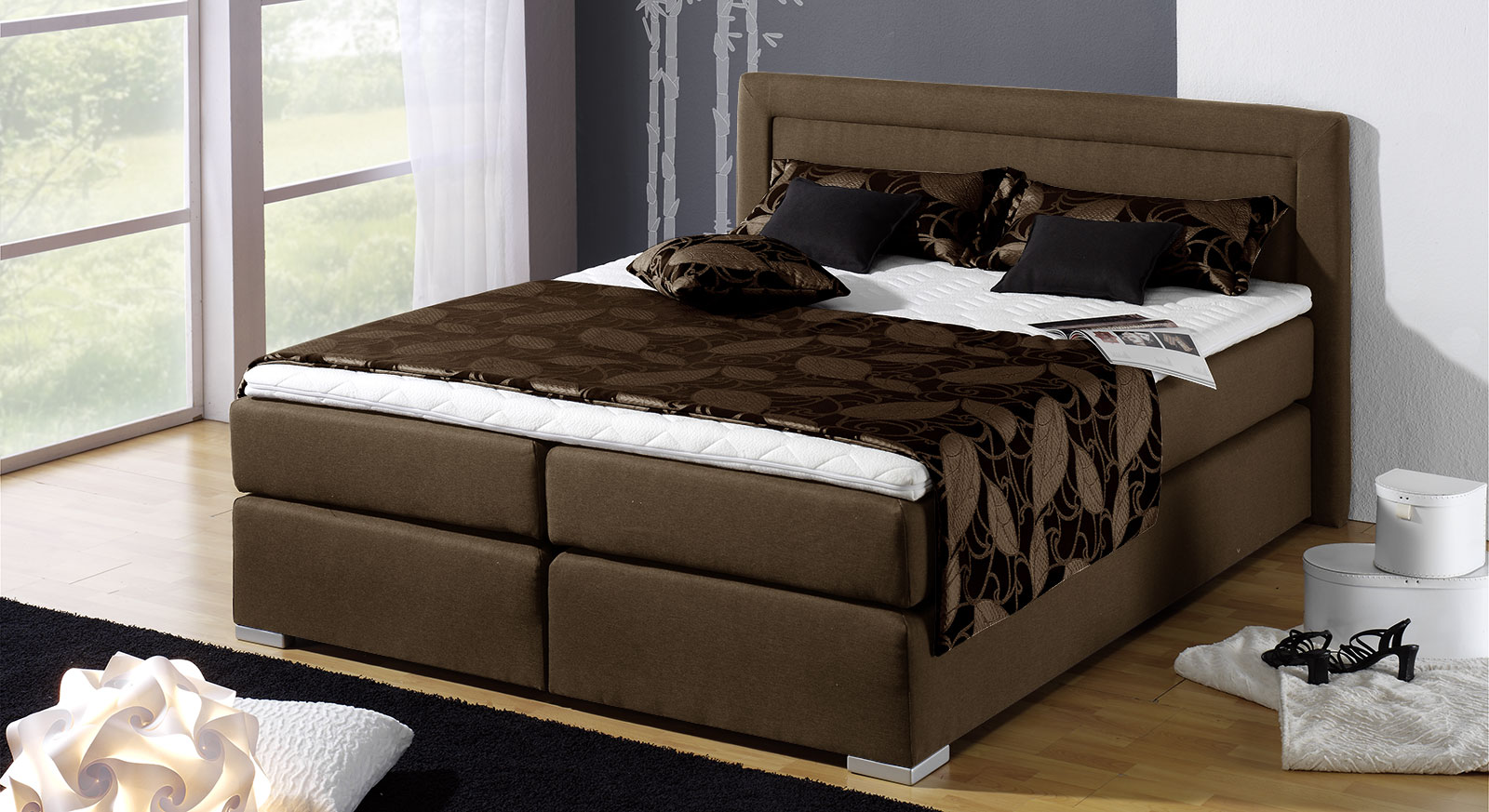 boxspringbett mit kaltschaummatratze. Black Bedroom Furniture Sets. Home Design Ideas