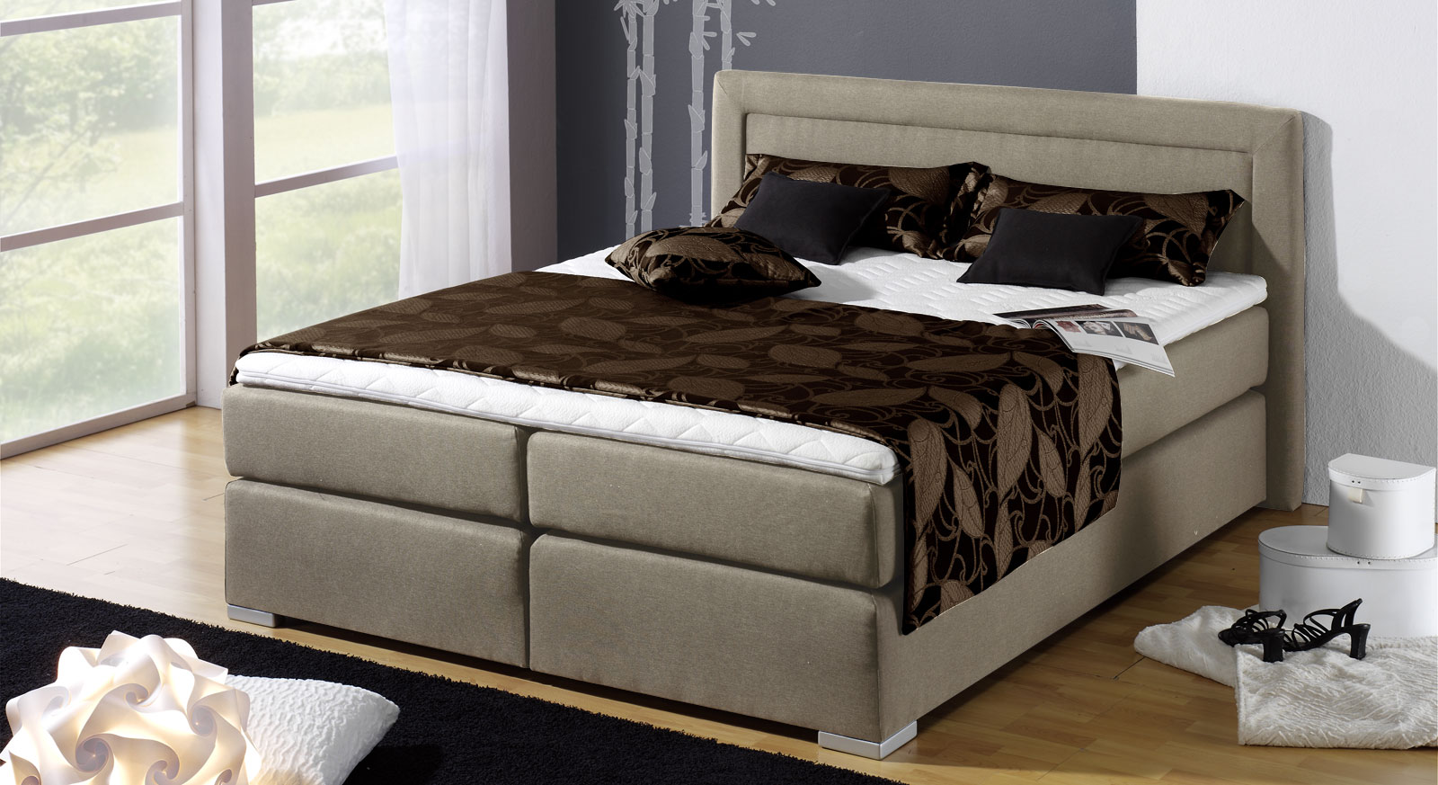 Boxspringbett Houston in Taupe