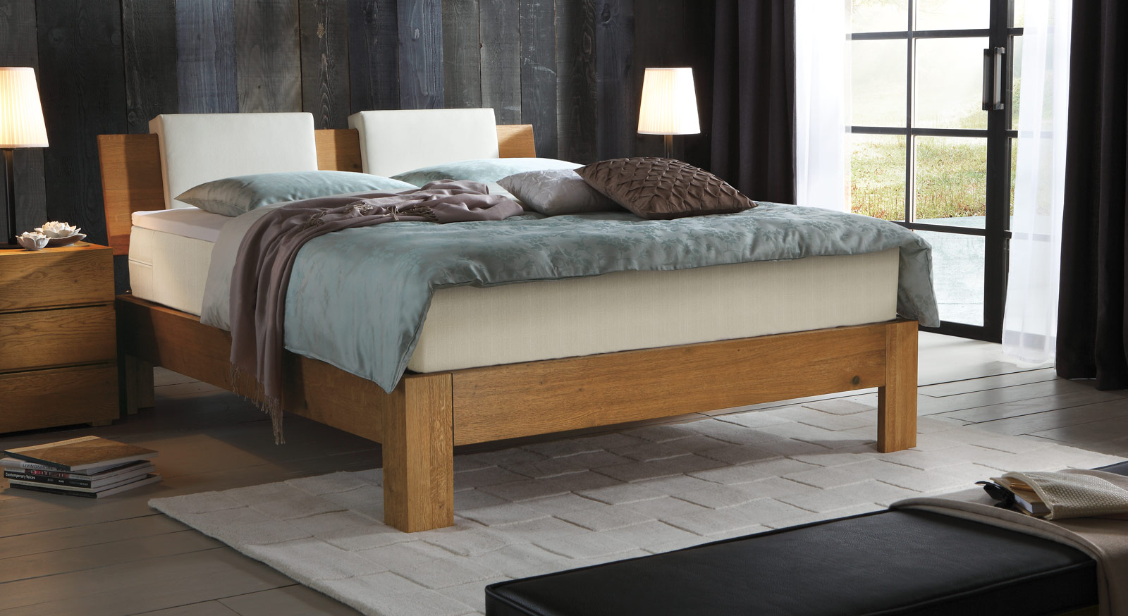 Boxspringbett holz eiche  Boxspringbett Kingston aus Massivholz in Eiche | BETTEN.de