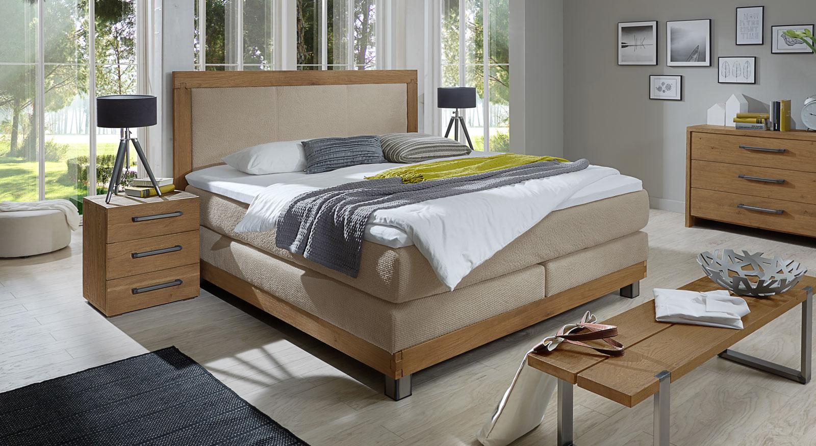 wildeiche boxspringbett mit topper z b in 180x200 livorno. Black Bedroom Furniture Sets. Home Design Ideas