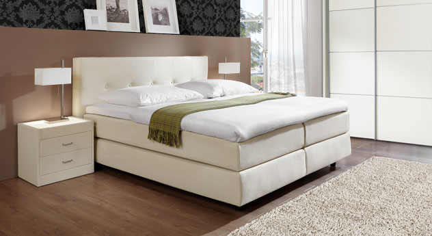 Boxspringbett Los Angeles in Creme mit Airboxx