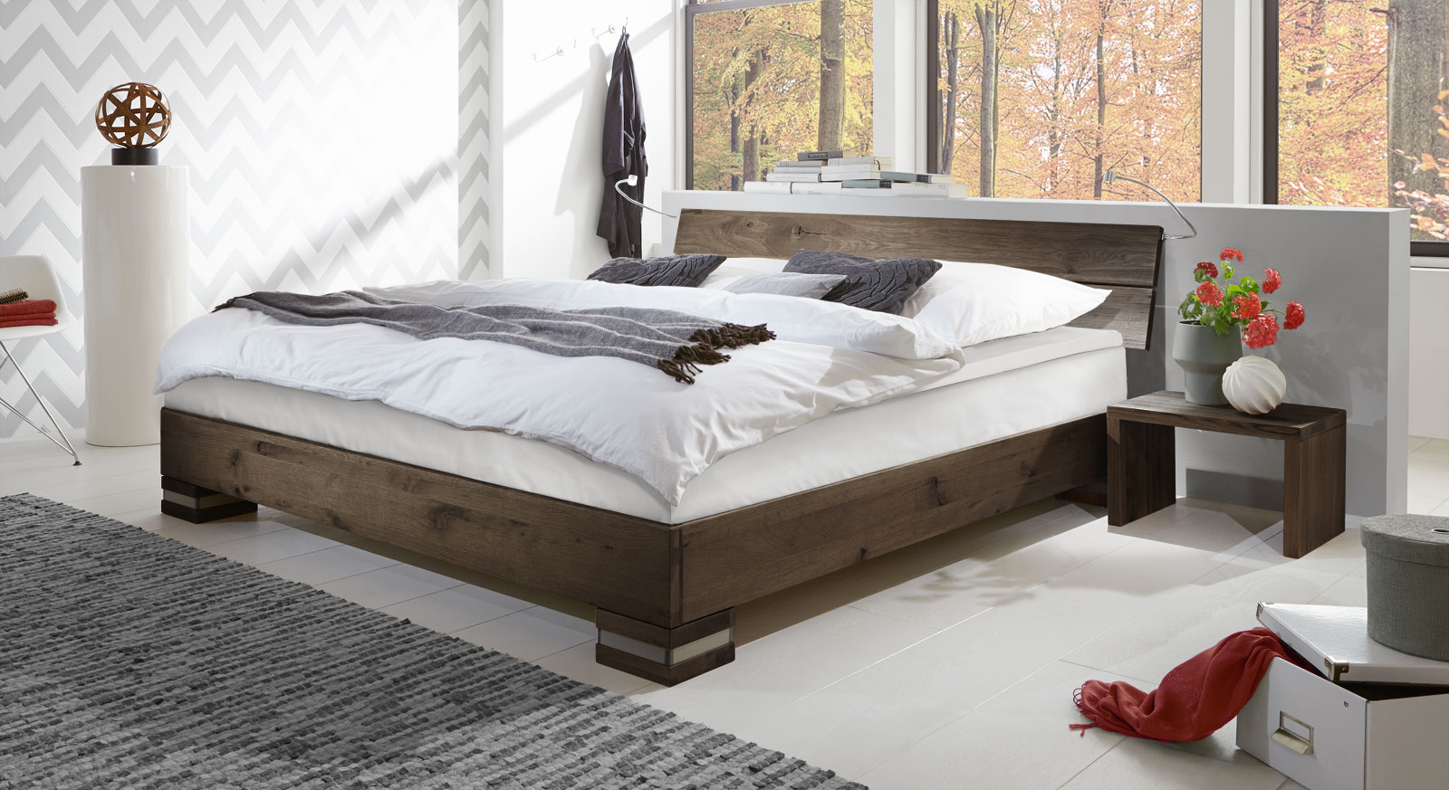 Boxspringbett Holz Mexiana in coffee Farbe