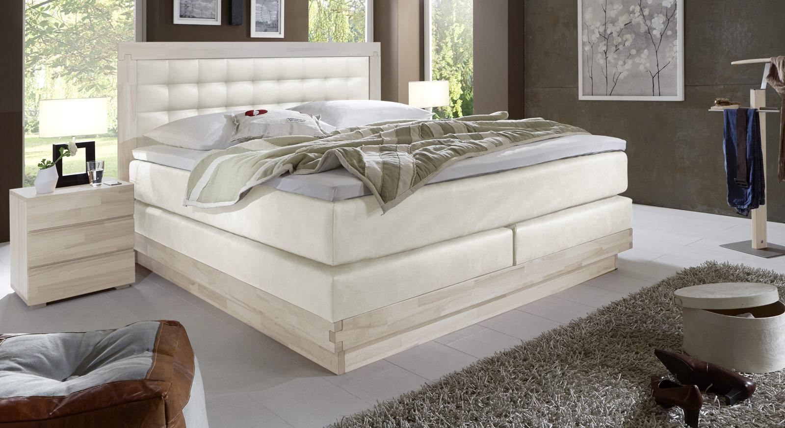 Weißes Boxspringbett Olbiano mit Luxus-Kunstleder in Weiß