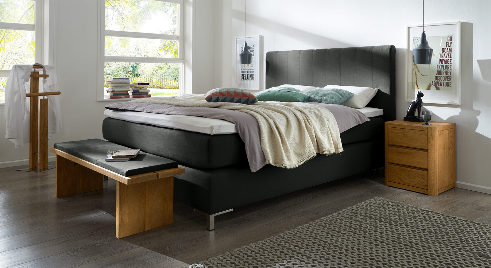 boxspringbett in z b 200x220 cm g nstig kaufen paguera. Black Bedroom Furniture Sets. Home Design Ideas