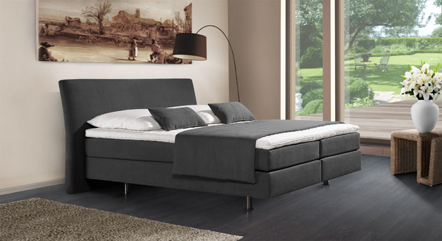 Boxspringbett Pistoia in anthrazitfarbenem Webstoff