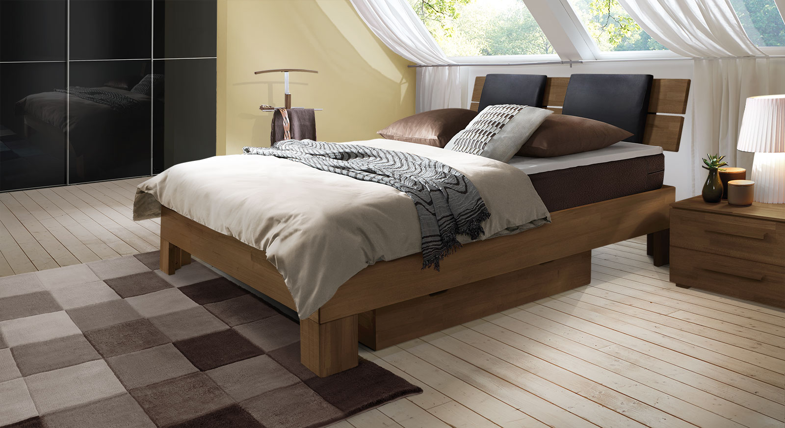 Boxspringbett Port-Louis in Buche nussbaum