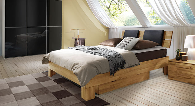 boxspringbett holz leder. Black Bedroom Furniture Sets. Home Design Ideas
