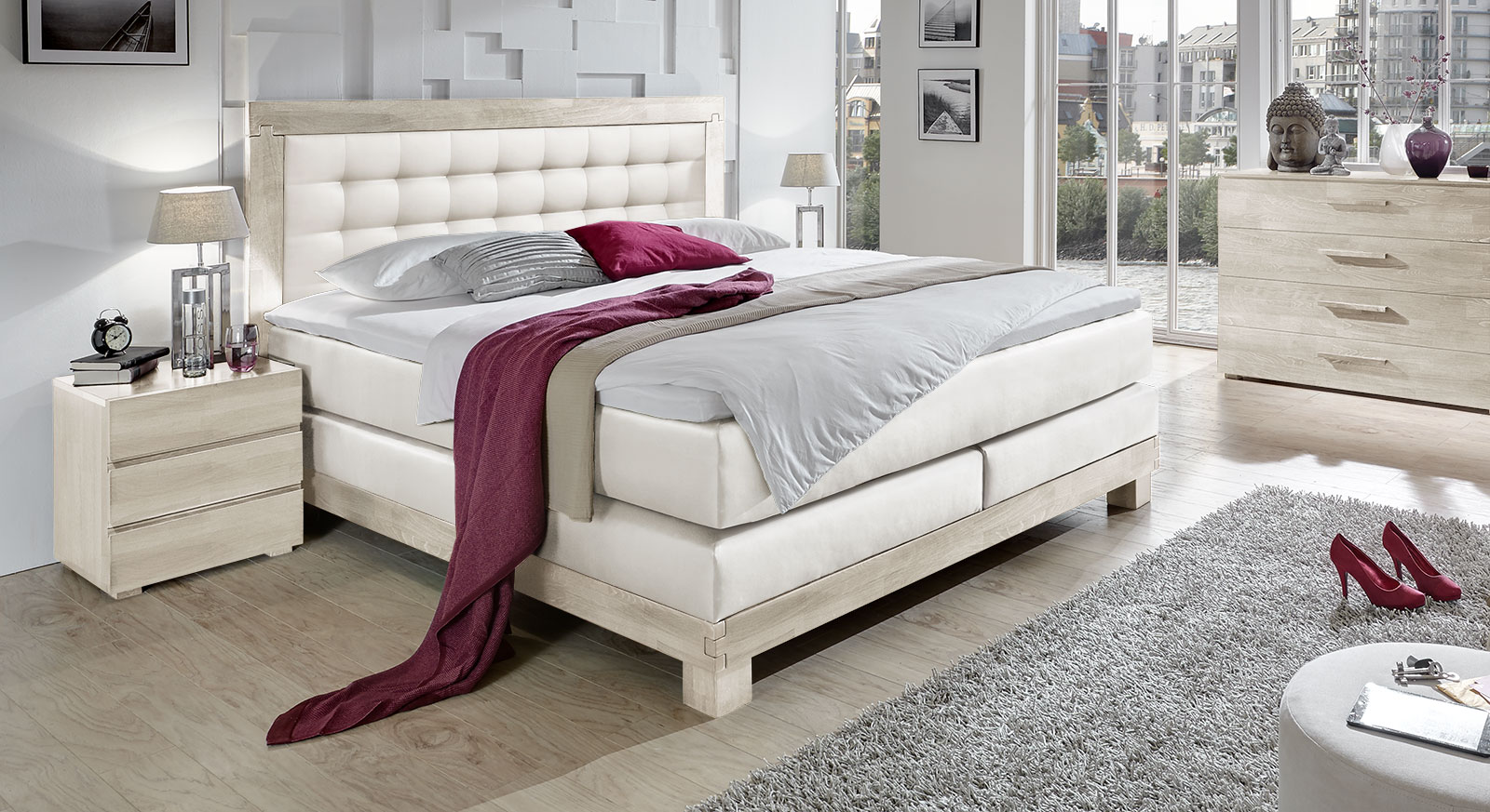 Luxus boxspringbett in kunstleder wei inkl topper pratos for Boxspringbett konfigurieren