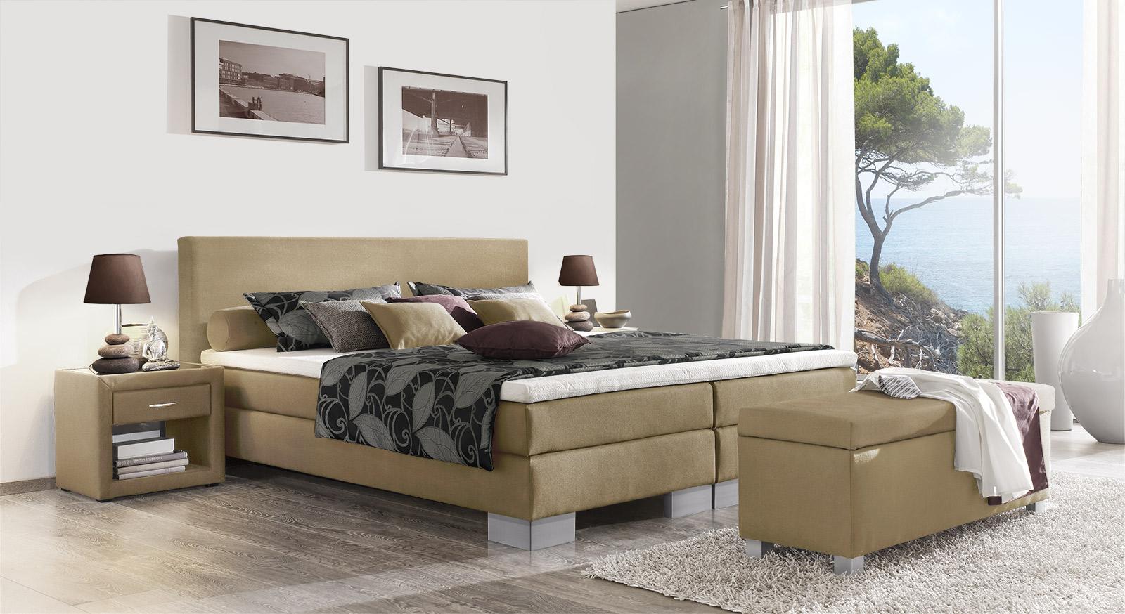 klassisches boxspringbett 180x200 cm in schwarz puebla. Black Bedroom Furniture Sets. Home Design Ideas