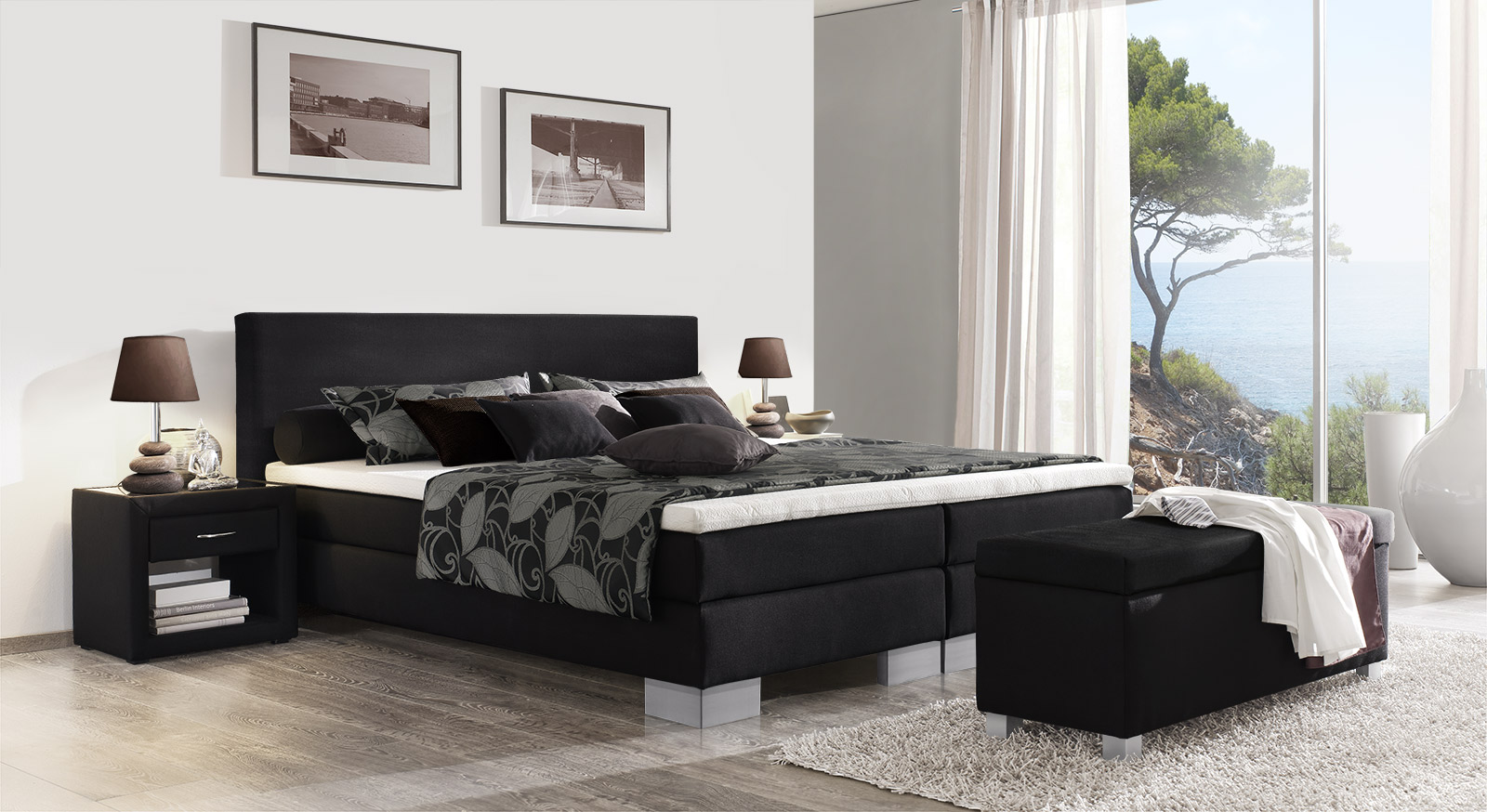 klassisches boxspringbett 180x200 cm in schwarz puebla. Black Bedroom Furniture Sets. Home Design Ideas