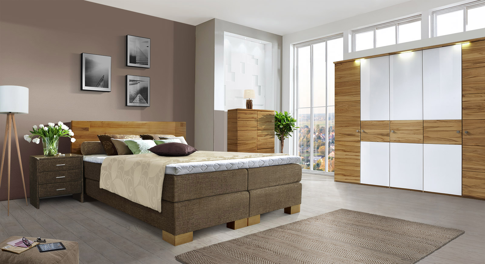 schlafzimmer mit boxspringbett schlafzimmer serie mit massivholz boxspringbett port louis. Black Bedroom Furniture Sets. Home Design Ideas