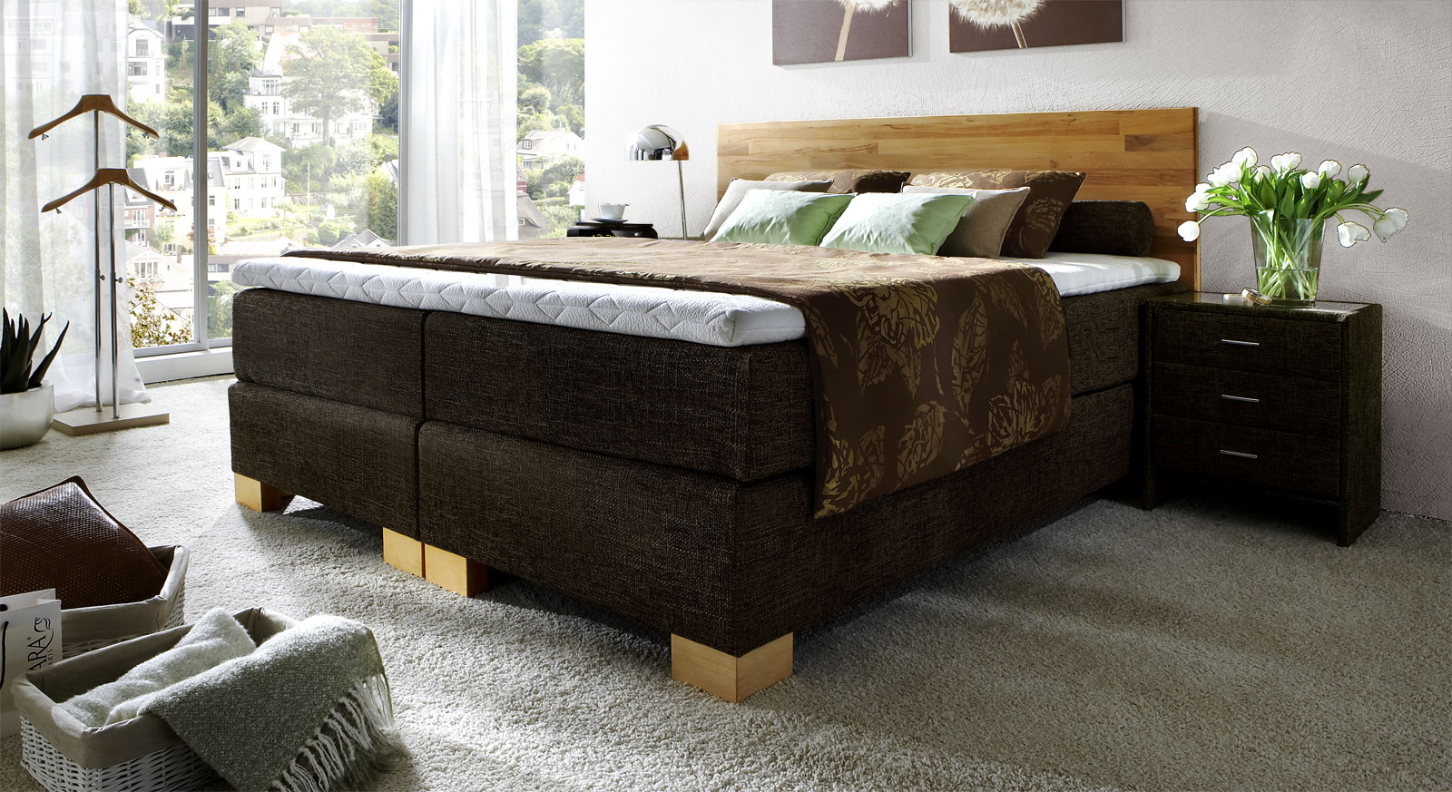 boxspringbett holz. Black Bedroom Furniture Sets. Home Design Ideas