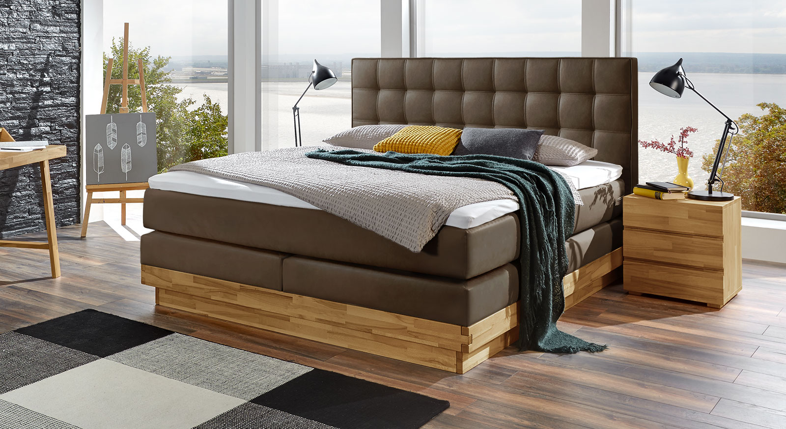 boxspringbett mit ttf matratze aus kernbuche san carlos. Black Bedroom Furniture Sets. Home Design Ideas
