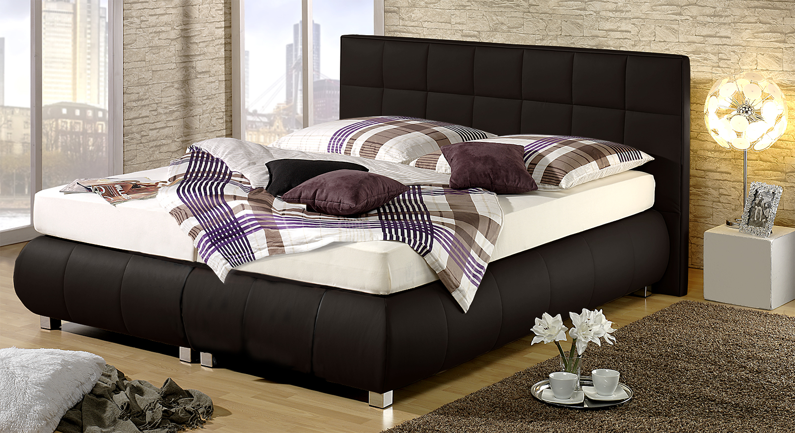 boxspringbett mit kunstleder bezug seattle. Black Bedroom Furniture Sets. Home Design Ideas