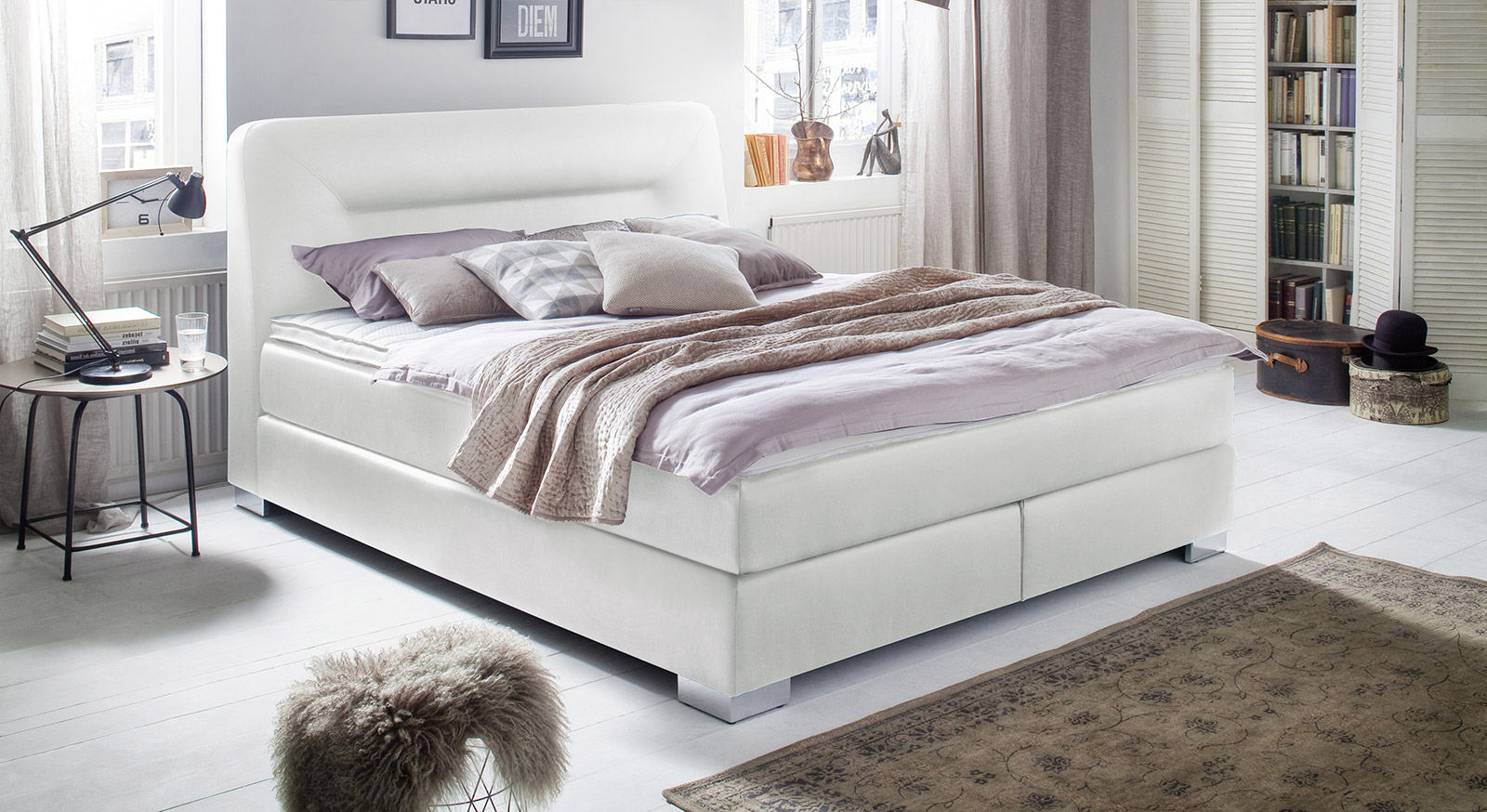 boxspringbett mit topper bis 150 kg belastbar siliana. Black Bedroom Furniture Sets. Home Design Ideas