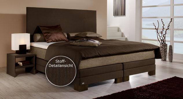 boxspringbett teneriffa in braun mit hohem kopfteil. Black Bedroom Furniture Sets. Home Design Ideas
