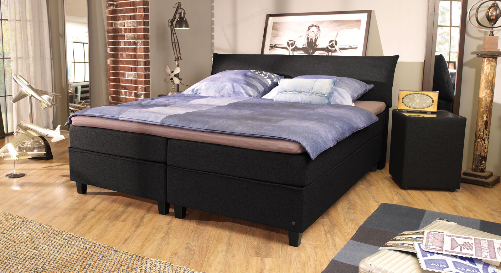 Boxspringbett Tom Tailor Color in Schwarz