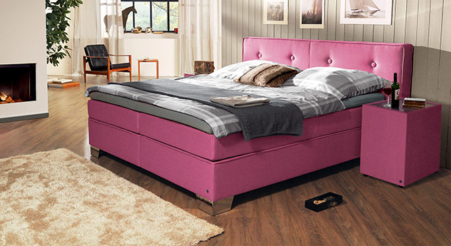 Boxspringbett Tom Tailor Soft mit Webstoff in Pink