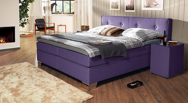 Boxspringbett Tom Tailor Soft mit Webstoff in Violett