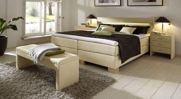boxspringbett mit led lichtleiste im kopfteil vincenzo. Black Bedroom Furniture Sets. Home Design Ideas