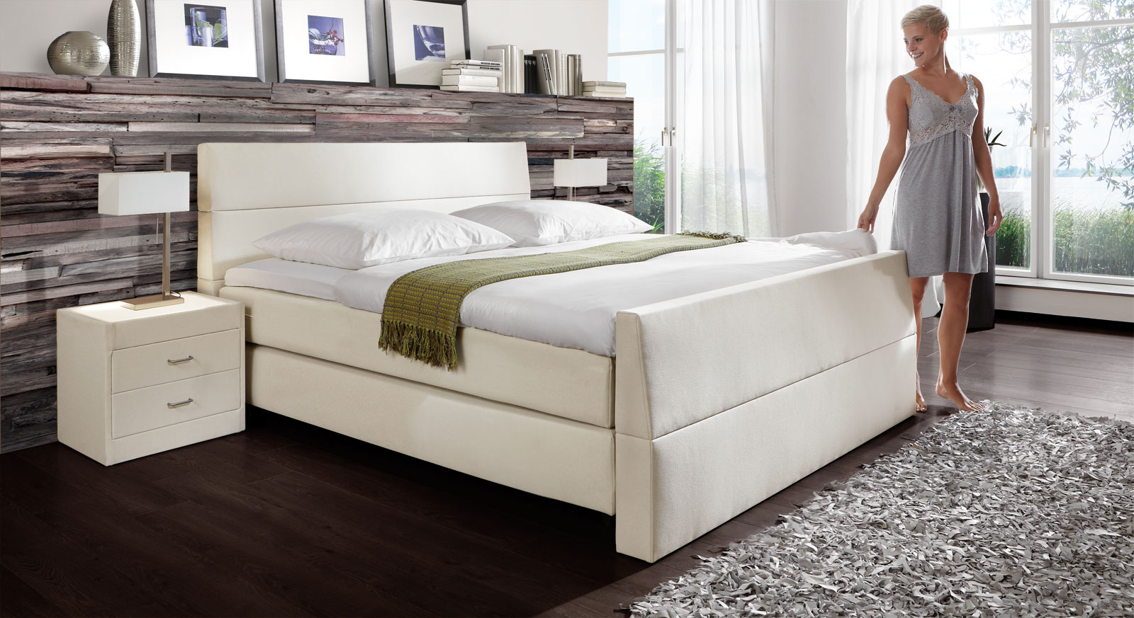 Boxspringbett Vineyard mit Airboxx in Creme
