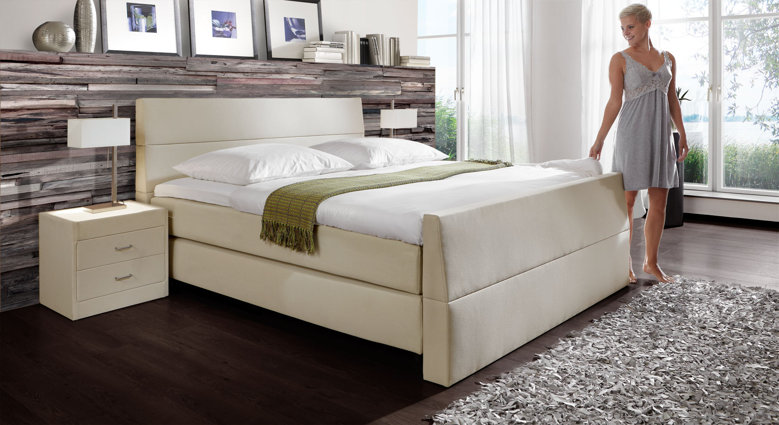 Boxspringbett Vineyard in Mina beige