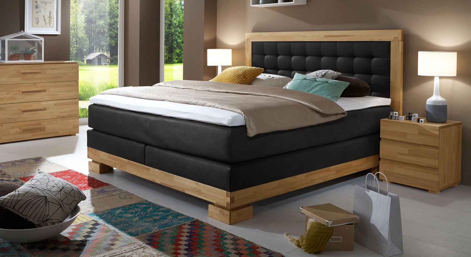 boxspringbett im landhaus stil aus buche viterbus. Black Bedroom Furniture Sets. Home Design Ideas