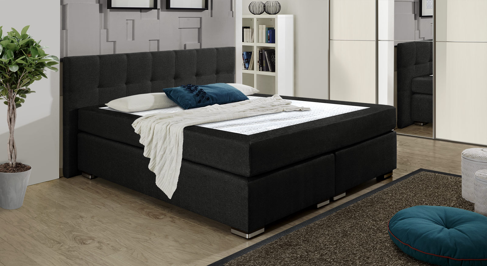 boxspringbett modern. Black Bedroom Furniture Sets. Home Design Ideas
