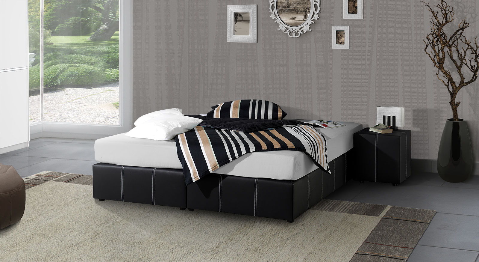 boxspringbett ohne r ckenlehne in schwarz weiss athen. Black Bedroom Furniture Sets. Home Design Ideas