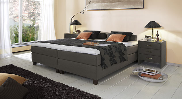 Boxspringliege Luciano in 53 cm Höhe mit Stoffbezug in Anthrazit