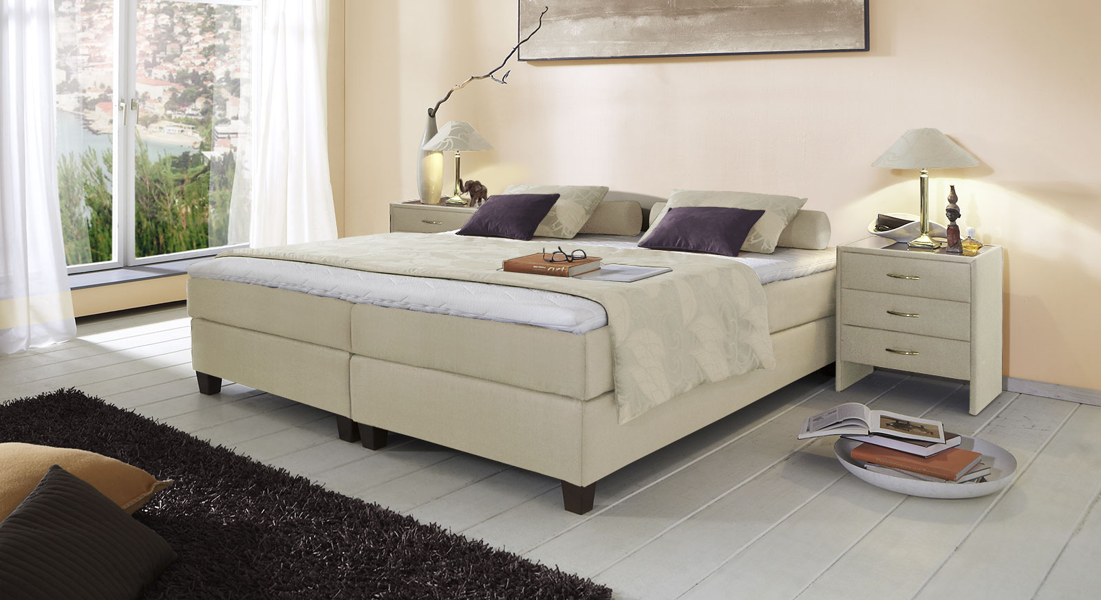 Boxspringliege Luciano in 53 cm Höhe mit Stoffbezug in Creme