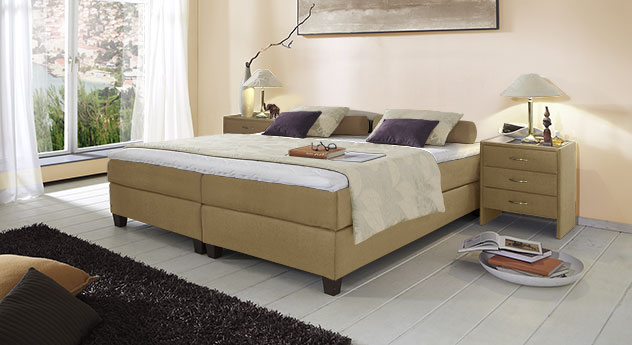 Boxspringliege Luciano in 53 cm Höhe mit Stoffbezug in Jute