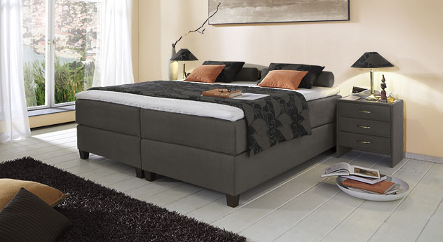 Boxspringliege Luciano in 66 cm Höhe mit Stoffbezug in Anthrazit