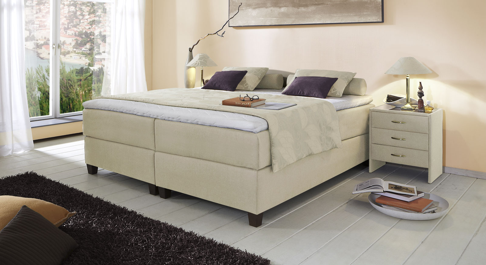 Boxspringliege Luciano in 66 cm Höhe mit Stoffbezug in Creme