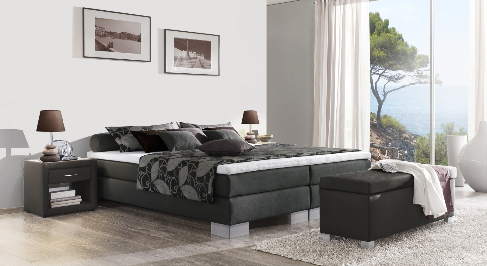 Boxspringliege Puebla in anthrazitfarbenem Webstoff in 53 cm Höhe