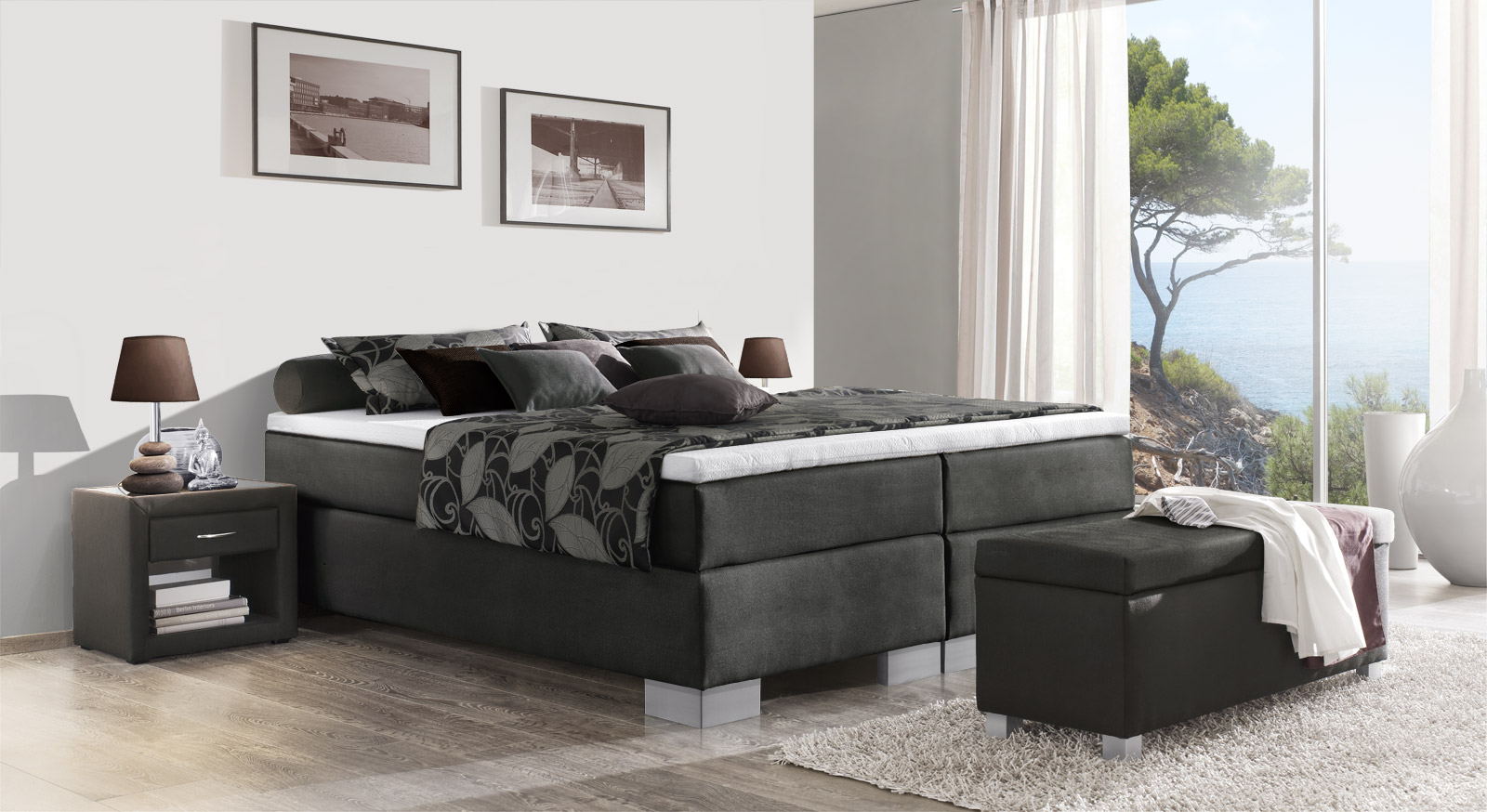 Boxspringliege Puebla in anthrazitfarbenem Webstoff in 66 cm Höhe