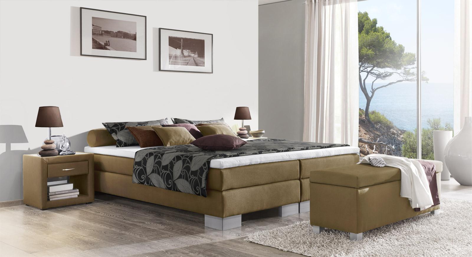 boxspringliege inklusive topper mittelweich puebla. Black Bedroom Furniture Sets. Home Design Ideas