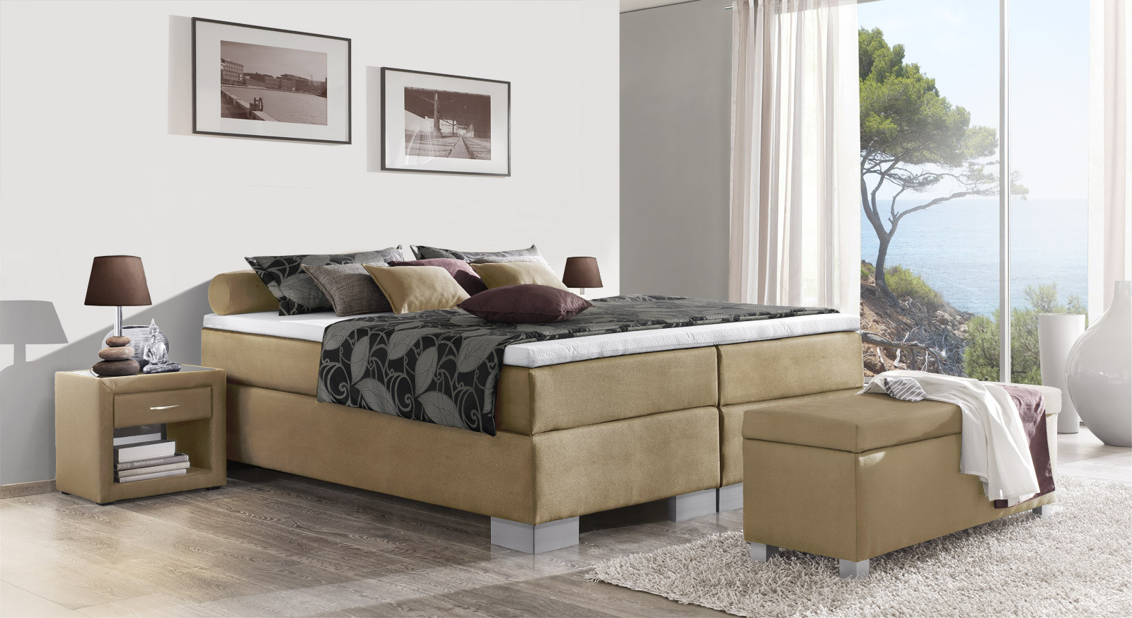 Boxspringliege Puebla in naturfarbenem Webstoff in 66 cm Höhe